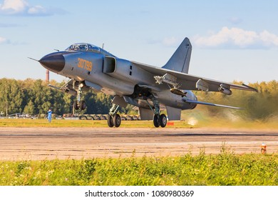 RYAZAN REGION, RUSSIA, AUGUST, 2015: China Air Force Xian JH-7 flies up from airfield in an evening sunset