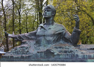 Ryazan, Russia - 05/02/2019: Monument to the great Russian poet Sergei Yesenin in Ryazan.