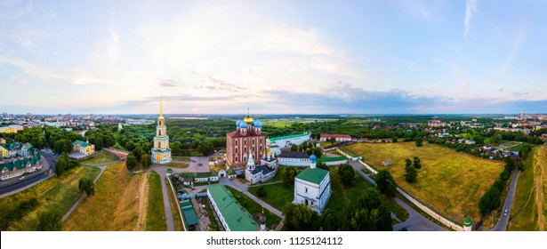 Ryazan, Russia. Aerial view of Bell tower and Cathedral of Ryazan Kremlin in the evening, Russia. View over the popular touristic town in Russia at sunset