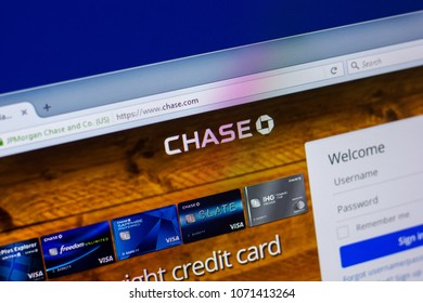 Ryazan, Russia - April 16, 2018 - Homepage of JPMorgan Chase and Co. on the display of PC, url - chase.com