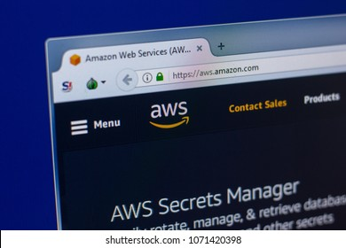 Ryazan, Russia - April 16, 2018 - Homepage of Amazon Web Services - AWS website on the display of PC.