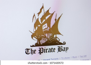 Ryazan, Russia - April 16, 2018 - Homepage of The Pirate Bay on the display of PC, url - thepiratebay.org.