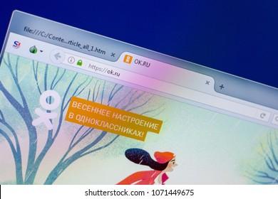 Ryazan, Russia - April 16, 2018 - Homepage of russian social network OK, web url - ok.ru.
