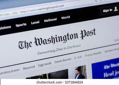 Ryazan, Russia - April 16, 2018 - Homepage of The Washington Post website on the display of PC, url - washingtonpost.com.