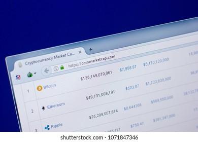 Ryazan, Russia - April 16, 2018 - Homepage of CoinMarketCap website on the display of PC, url - coinmarketcap.com.