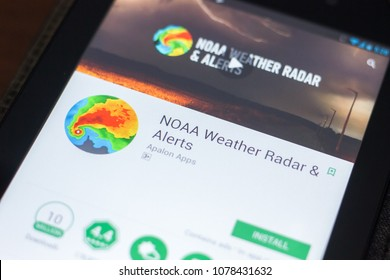 Ryazan, Russia - April 19, 2018 - NOAA Weather Radar and Alerts mobile app on the display of tablet PC.