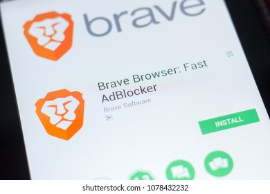 Ryazan, Russia - April 19, 2018 - Brave Browser - Fast AdBlocker mobile app on the display of tablet PC.