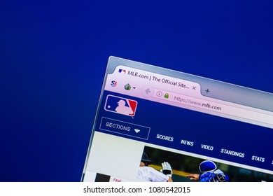 Ryazan, Russia - April 29, 2018: Homepage of MLB website on the display of PC, url - MLB.com