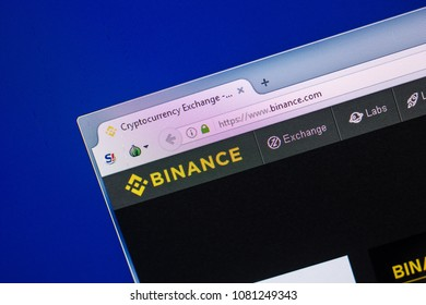Ryazan, Russia - April 29, 2018: Homepage of Binance website on the display of PC,