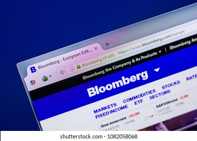 Ryazan, Russia - April 29, 2018: Homepage of Bloomberg website on the display of PC, url - Bloomberg.com