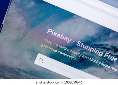 Ryazan, Russia - April 29, 2018: Homepage of Pixabay website on the display of PC, url - Pixabay.com