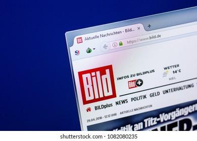 Ryazan, Russia - April 29, 2018: Homepage of Bild website on the display of PC, url - Bild.de