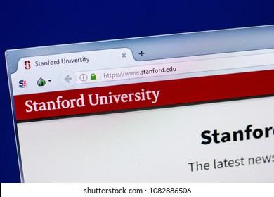 Ryazan, Russia - April 29, 2018: Homepage of Stanford University website on the display of PC, url - Stanford.edu