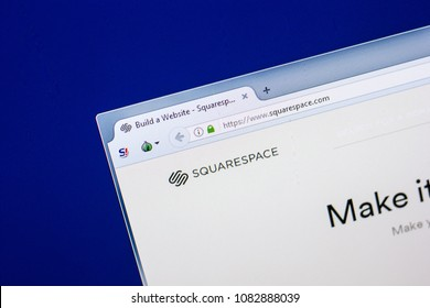 Ryazan, Russia - April 29, 2018: Homepage of Squarespace website on the display of PC, url - Squarespace.com