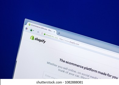 Ryazan, Russia - April 29, 2018: Homepage of Shopify website on the display of PC, url - Shopify.com