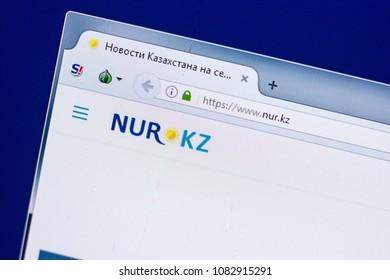Ryazan, Russia - April 29, 2018: Homepage of Nur website on the display of PC, url - Nur.kz