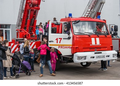RYAZAN, RUSSIA, - APRIL 30, 2016: Fire engine demonstration on Victory Square.