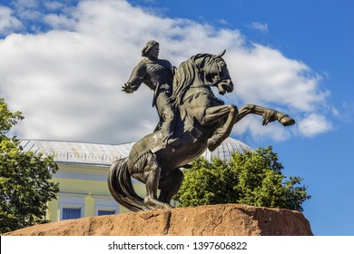 RYAZAN, RUSSIA - AUGUST 09, 2017:The city of Ryazan, a monument to the national hero Evpatiy Kolovrat on the Postal square. Russia