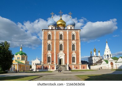 Ryazan, Russia - August 17, 2018: The Ryazan Kremlin. Christ's Nativity Cathedral, the assumption Cathedral and the Church of the Epiphany