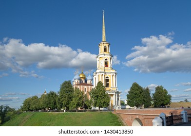 Ryazan, Russia - August 17, 2018: Assumption Cathedral with bell tower and Glebovsky bridge in the Ryazan Kremlin