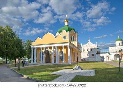 Ryazan, Russia - August 17, 2018: Cathedral of the Nativity, the Church of the beheading of John the Baptist and the Archangel Cathedral in the Ryazan Kremlin