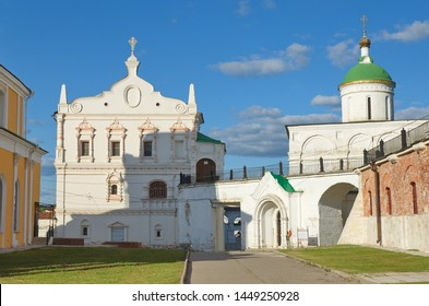 "Ryazan, Russia - August 17, 2018: Historical and architectural Museum-reserve ""Ryazan Kremlin"". Church of the beheading of John the Baptist and the Archangel Cathedral"