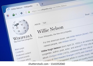 Ryazan, Russia - August 19, 2018: Wikipedia page about Willie Nelson on the display of PC.