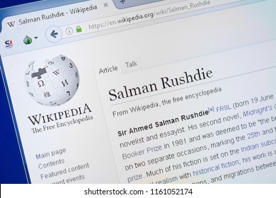 Ryazan, Russia - August 19, 2018: Wikipedia page about Salman Rushdie on the display of PC.