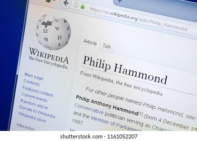 Ryazan, Russia - August 19, 2018: Wikipedia page about Philip Hammond on the display of PC.