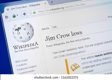 Ryazan, Russia - August 19, 2018: Wikipedia page about Jim Crow laws on the display of PC.