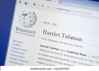 Ryazan, Russia - August 19, 2018: Wikipedia page about Harriet Tubman on the display of PC.