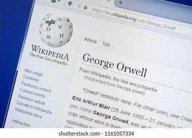 Ryazan, Russia - August 19, 2018: Wikipedia page about George Orwell on the display of PC.