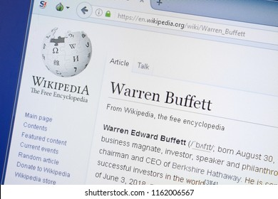 Ryazan, Russia - August 19, 2018: Wikipedia page about Warren Buffett on the display of PC.