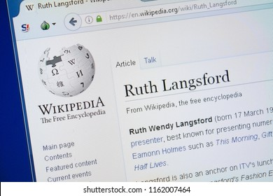 Ryazan, Russia - August 19, 2018: Wikipedia page about Ruth Langsford on the display of PC.
