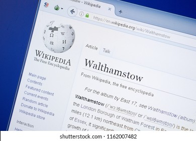 Ryazan, Russia - August 19, 2018: Wikipedia page about Walthamstow on the display of PC.