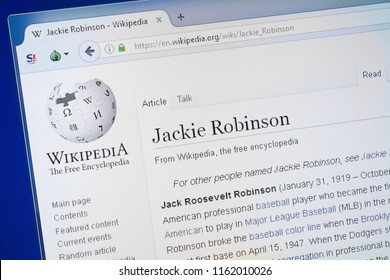 Ryazan, Russia - August 19, 2018: Wikipedia page about Jackie Robinson on the display of PC.