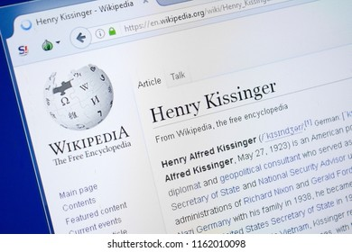 Ryazan, Russia - August 19, 2018: Wikipedia page about Henry Kissinger on the display of PC.
