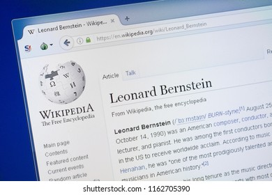 Ryazan, Russia - August 19, 2018: Wikipedia page about Leonard Bernstein on the display of PC.