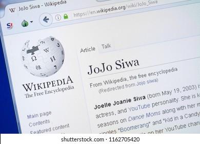 Ryazan, Russia - August 19, 2018: Wikipedia page about JoJo Siwa on the display of PC.