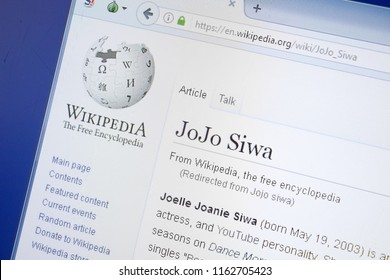 Ryazan, Russia - August 19, 2018: Wikipedia page about JoJo Siwa on the display of PC.