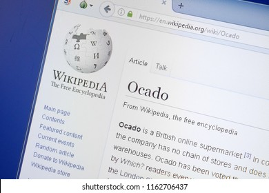 Ryazan, Russia - August 19, 2018: Wikipedia page about Ocado on the display of PC.