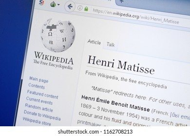 Ryazan, Russia - August 19, 2018: Wikipedia page about Henri Matisse on the display of PC.