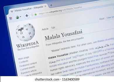 Ryazan, Russia - August 19, 2018: Wikipedia page about Malala Yousafzai on the display of PC.