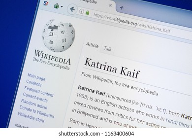 Ryazan, Russia - August 19, 2018: Wikipedia page about Katrina Kaif on the display of PC.