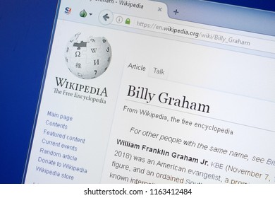 Ryazan, Russia - August 19, 2018: Wikipedia page about Billy Graham on the display of PC.