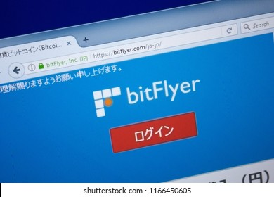 Ryazan, Russia - August 26, 2018: Homepage of Bit Flyer website on the display of PC. Url - BitFlyer.com