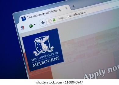 Ryazan, Russia - August 26, 2018: Homepage of Uni Melb website on the display of PC. Url - UniMelb.edu.au