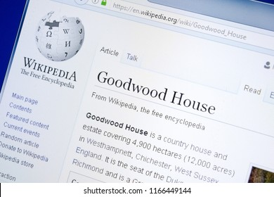 Ryazan, Russia - August 28, 2018: Wikipedia page about Goodwood House on the display of PC.
