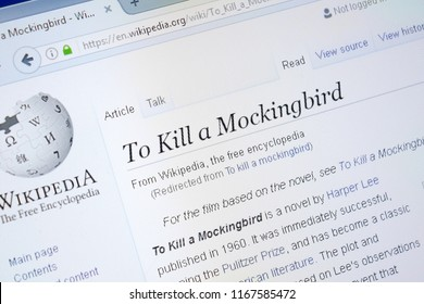 Ryazan, Russia - August 28, 2018: Wikipedia page about To Kill a Mockingbird on the display of PC.