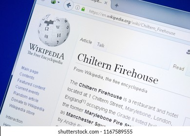 Ryazan, Russia - August 28, 2018: Wikipedia page about Chiltern Firehouse on the display of PC.